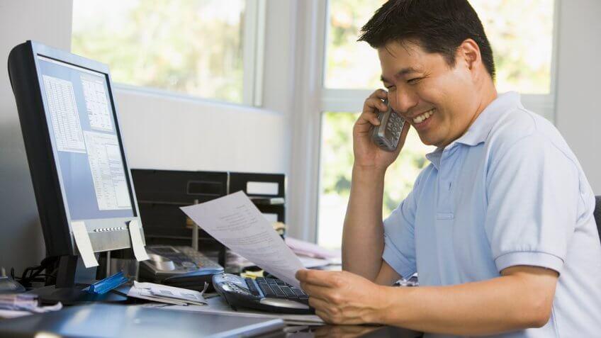Asian, Computer, MAN, calling, phone