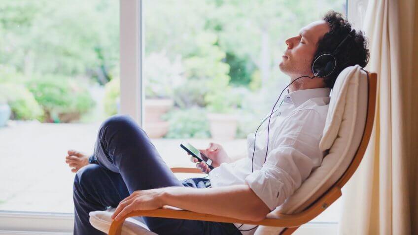 meditate with headphones.