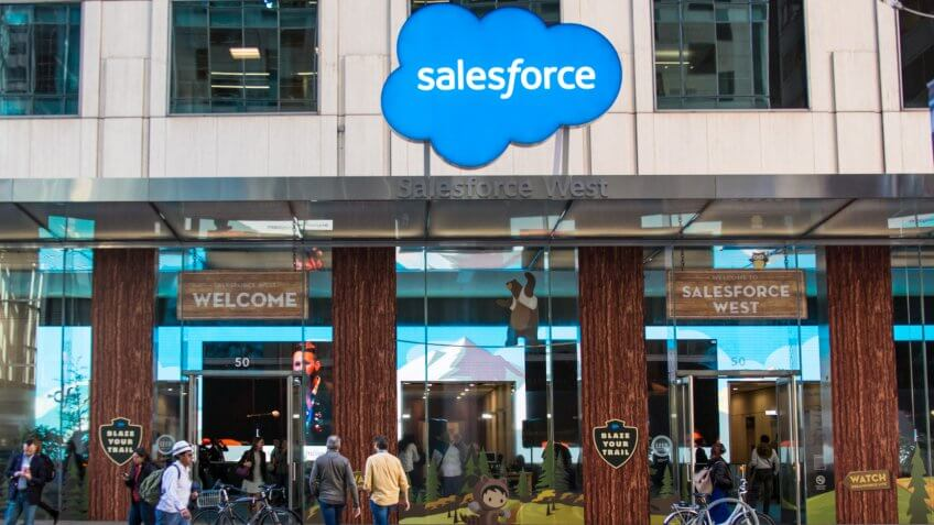 San Francisco, California - November 6th, 2017; logo at the entrance of Salesforce West, located in the Fremont Center on the corner of Mission and Fremont Streets.