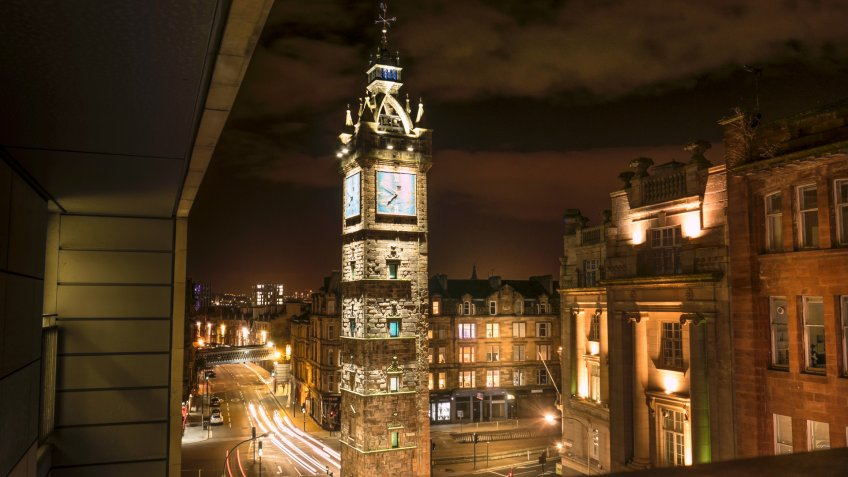 Glasgow, Scotland, Travel, clock tower, night