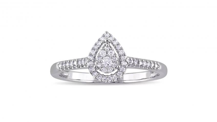 Miadora Sterling Silver 1/6-Carat Diamond Teardrop Halo Ring