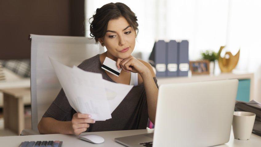 bills, credit card, laptop, payment, woman