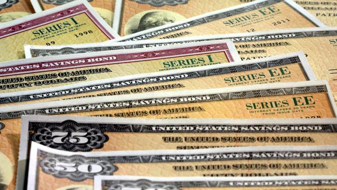 United States Treasury Savings Bonds - Investment wealth concept.
