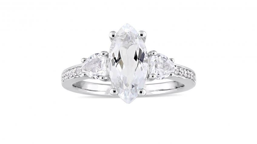 Miadora Sterling Silver White Topaz and 1/10-Carat Diamond Engagement Ring