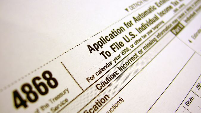 Tax form 4868 - Filing Extension.