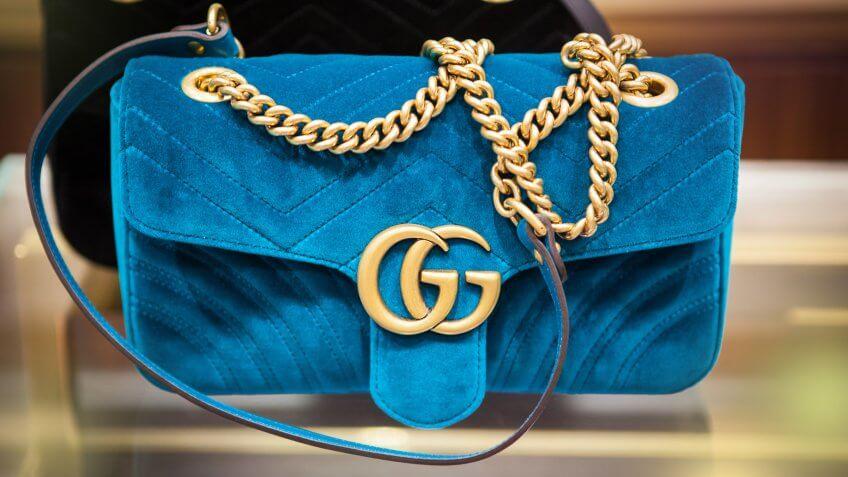 seoul, south republic korea, july 9, 2017, blue velvet Gucci bag in gucci store.