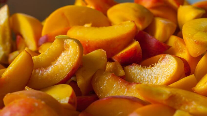 Ripe peach slices