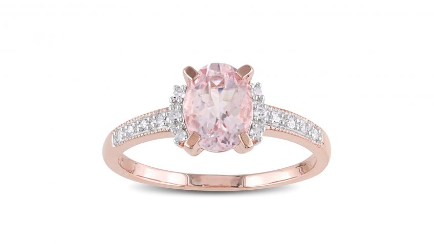 Miadora Rose-Plated Sterling Silver Oval-Cut Morganite and Diamond Accent Engagement Ring
