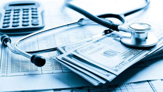 bills, cash, stethoscope