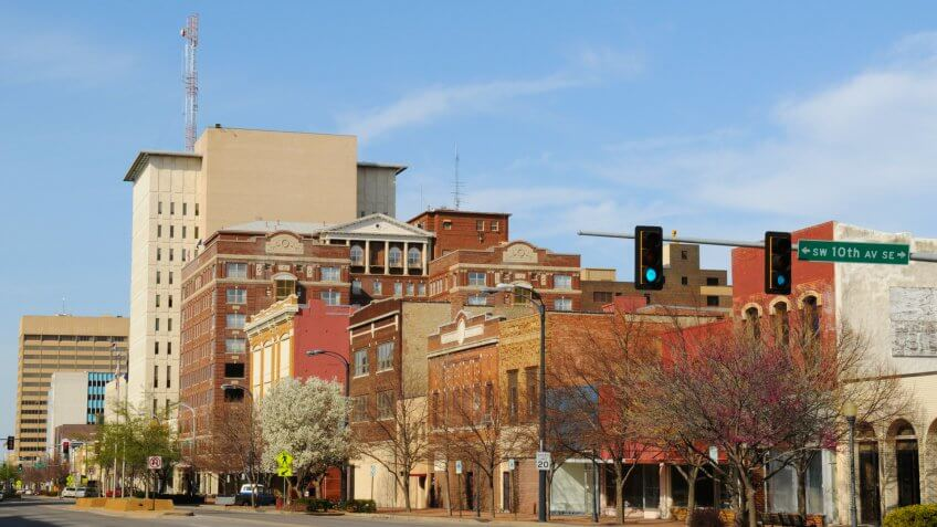 springtime view in downtown Topeka, Kansas, USA.