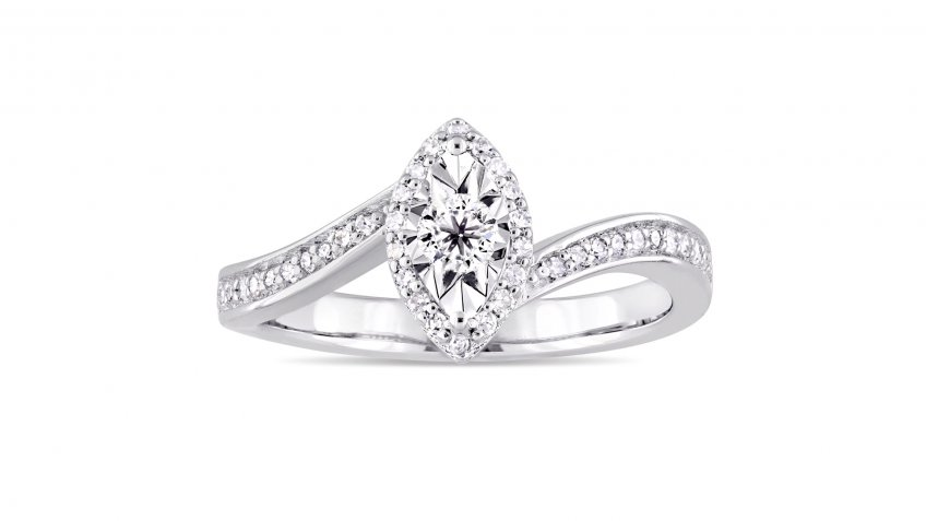 Miadora Sterling Silver 1/4-Carat Diamond Bypass-Style Engagement Ring