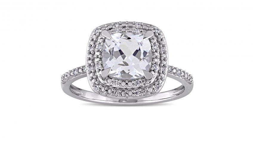 Miadora 10-Karat White Gold Cushion-Cut Created White Sapphire and 1/10-Carat Diamond Double Square Halo Ring