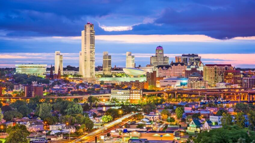 Albany New York skyline at dusk