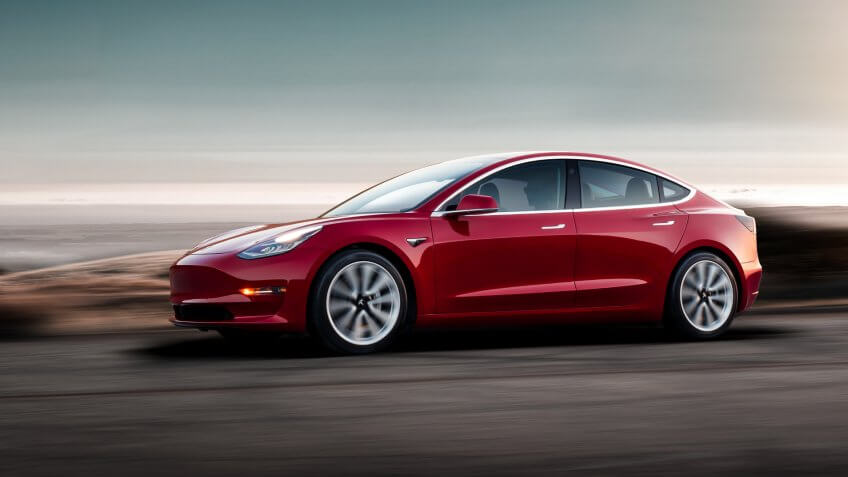 Model 3 - Red Driving Sunset