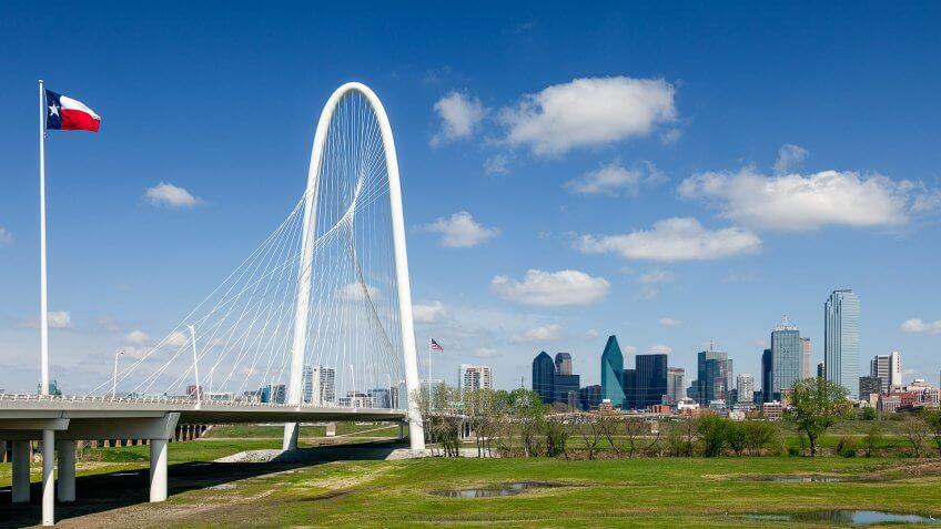Dallas, Texas, USA-March 31, 2013: Margaret Hunt Hill Bridge opened in 2012.
