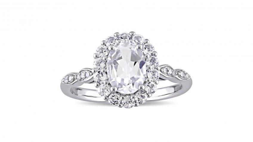 Miadora 14-Karat White Gold Oval-Cut White Topaz and Diamond Accent Halo Engagement Ring