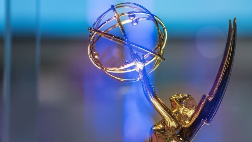 Emmy award on display at NAB Show 2015 exhibition in Las Vegas Convention Center.