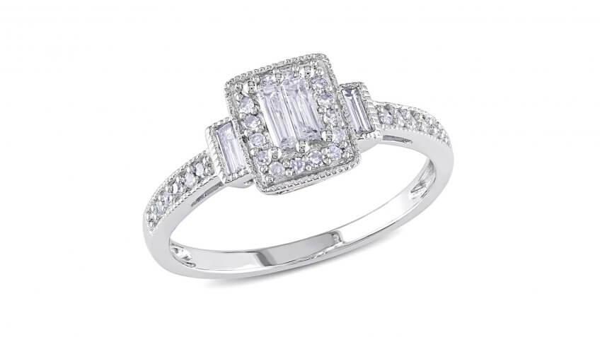 Miadora 10-Karat White Gold 1/3-Carat Baguette Diamond Halo Engagement Ring