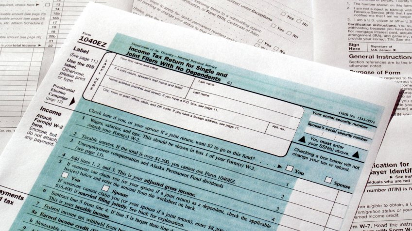 Range of various blank USA tax forms.