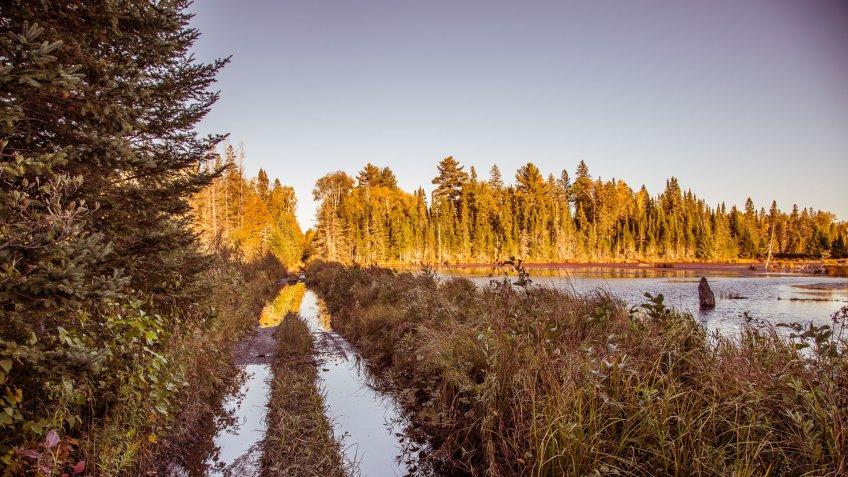Washed-out King Lake Road near Tioga and Nestoria, Michigan.