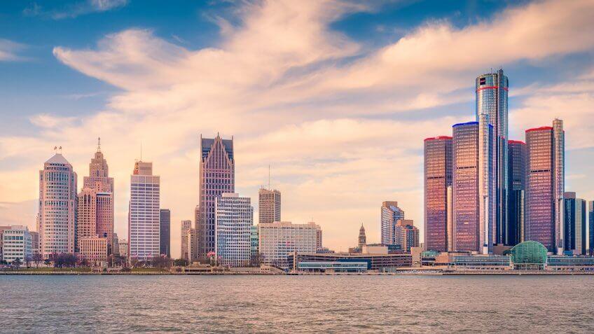 Detroit Skyline, Detroit, Michigan, USA.