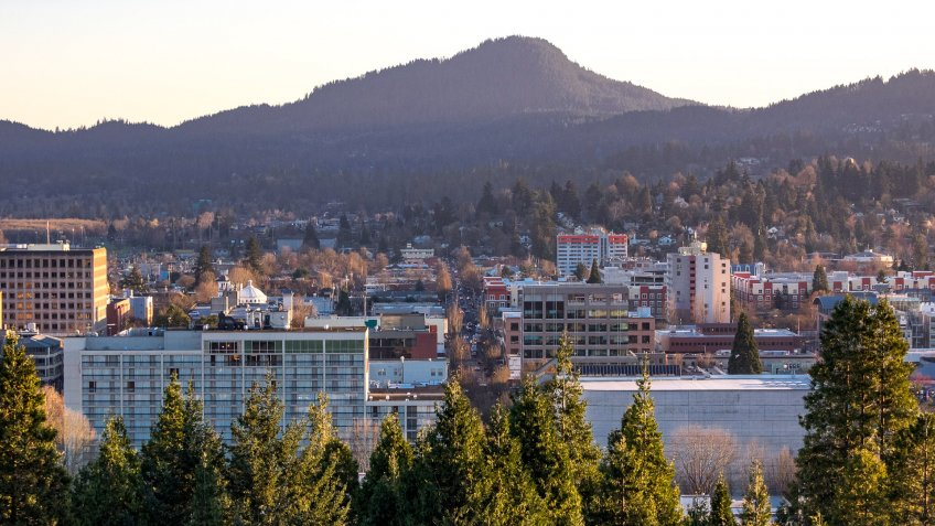 A view of downtown Eugene, Oregon.