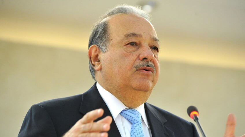 Carlos Slim Helú, President of the Carlos Slim Foundation, addresses during the Geneva Lectures Series, Palais des Nations.