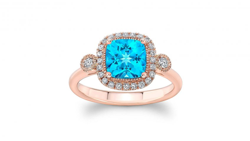 Blue Topaz and Diamond 14-Karat Rose Gold Ring