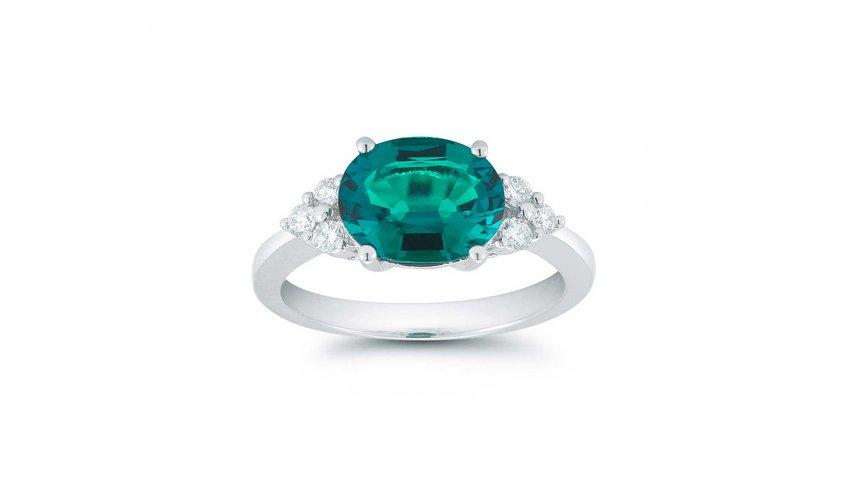 Oval Lab Created Emerald and Diamond 14-Karat White Gold Ring
