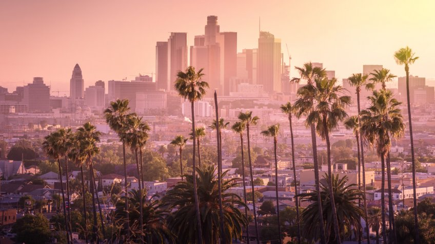 Beautiful sunset of Los Angeles downtown skyline and palm trees in foreground.