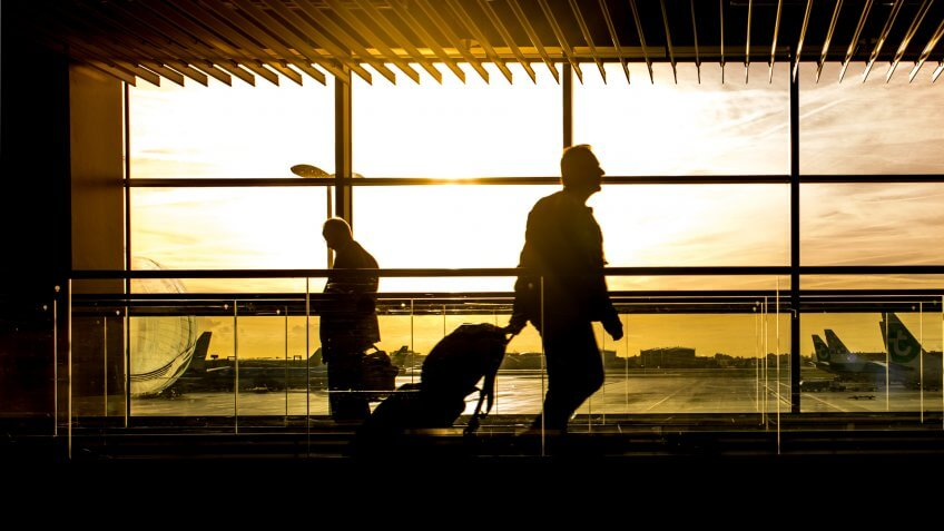 Travel, airport, silhouettes, sunset, traveler
