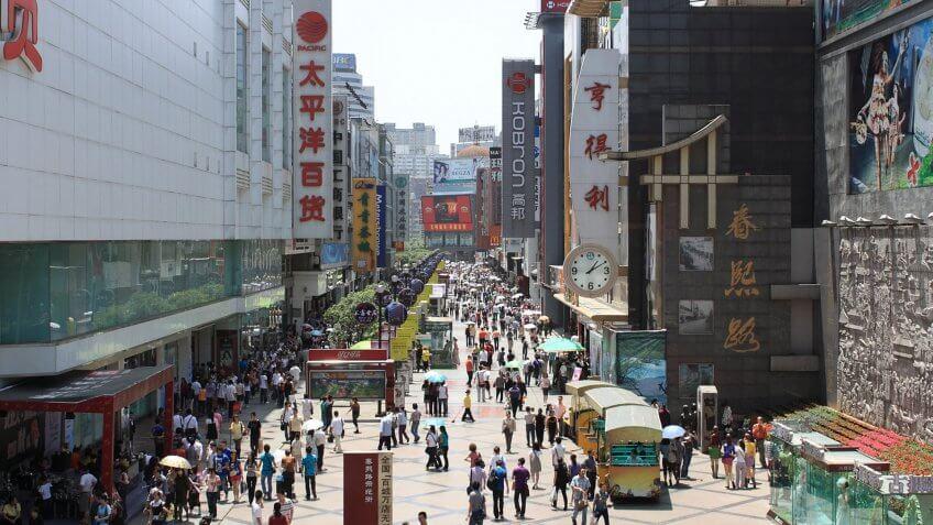 Chunxi Road, Chengdu, China.