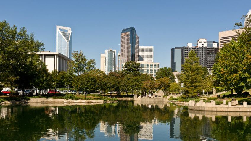 The Charlotte, NC skyline as seen from Marshall Park.