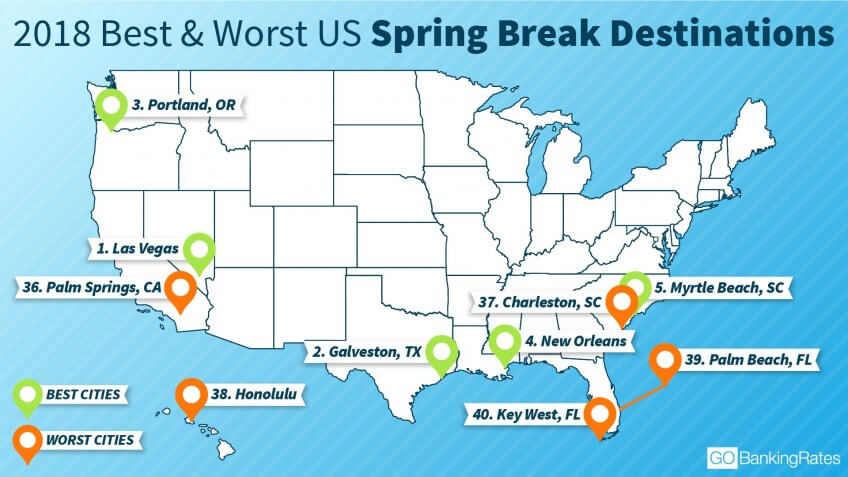 GOBankingRates map of best and worst spring break destinations