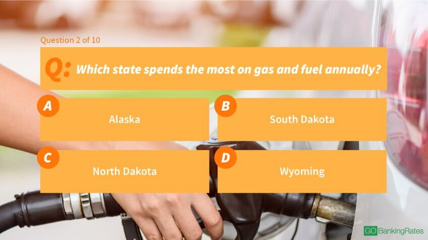 2. Which state spends the most on gas and fuel annually?