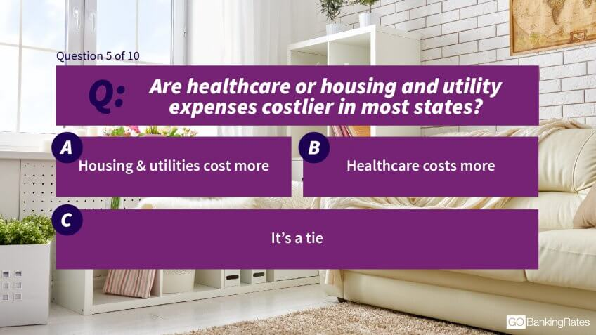5. Are healthcare or housing and utility expenses costlier in most states?