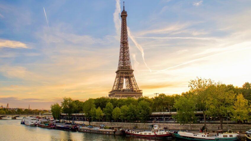 Eiffel Tower, Europe, Paris, Seine River, Travel, sunset