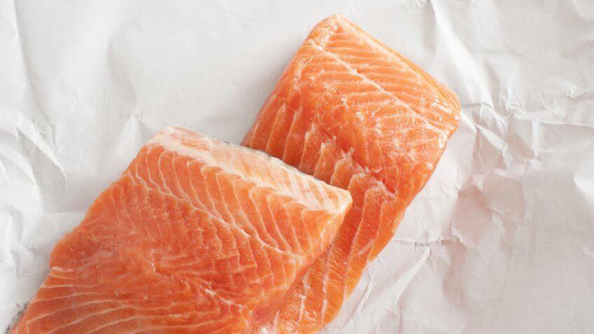 two fresh salmon slices