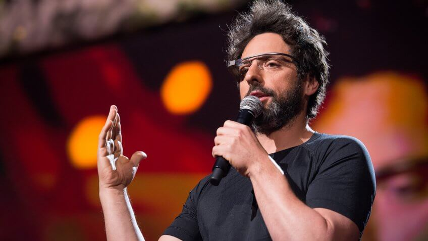 Sergey Brin wearing Google Glass at TED2013.