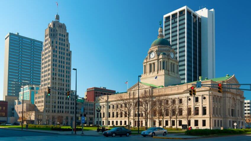 Downtown Fort Wayne, Indiana Skyline, including Allen County Courthouse.