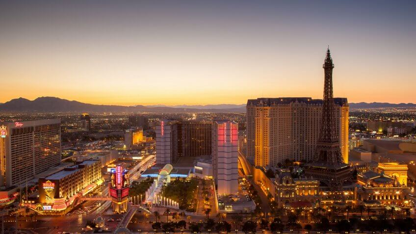 Aerial view over Las Vegas close to sunset at twilight.