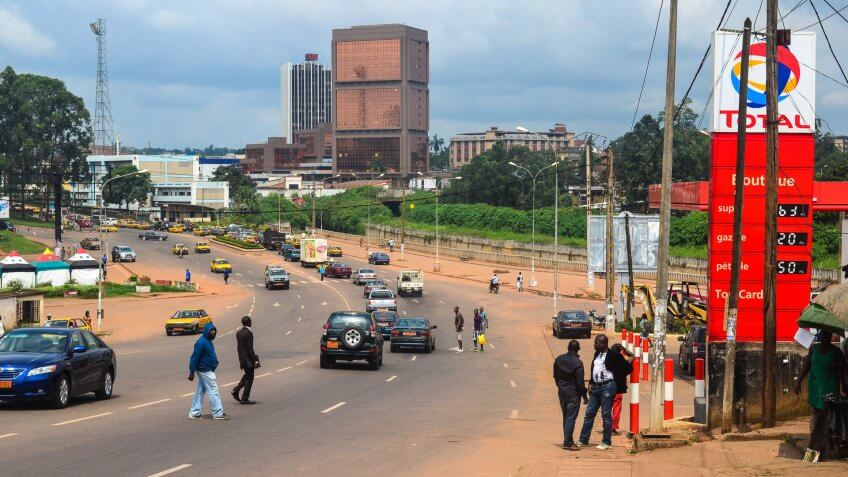Africa, Bicycle, City, Station, buildings, cameroon, cameroun, city center, petrol, yaounde