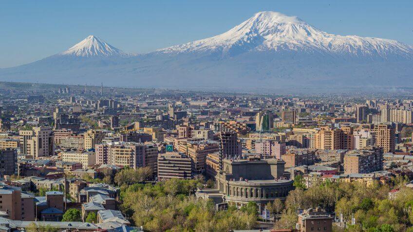 Mount Ararat and the Yerevan skyline.