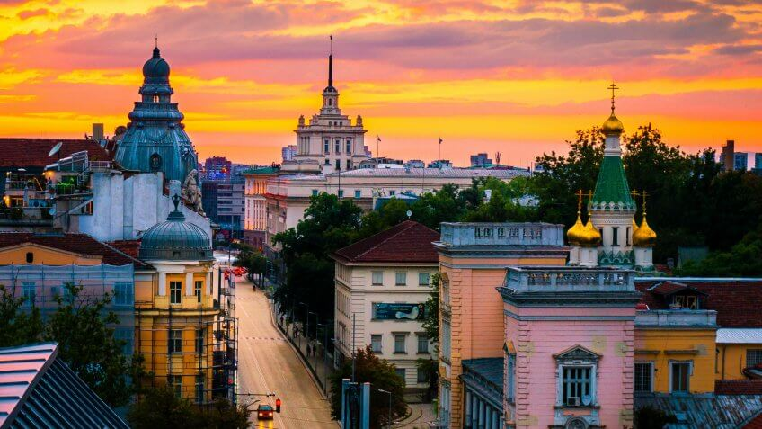 Sofia, capital of Bulgaria on a sunset, magnificent view from above over the historical buildings.