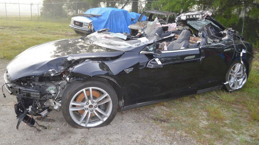 The Tesla Model S following its recovery from the crash scene near Williston, Florida.