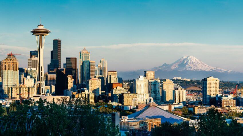 Seattle Skyline and Mount Rainier at Sunset on a clear summer day.