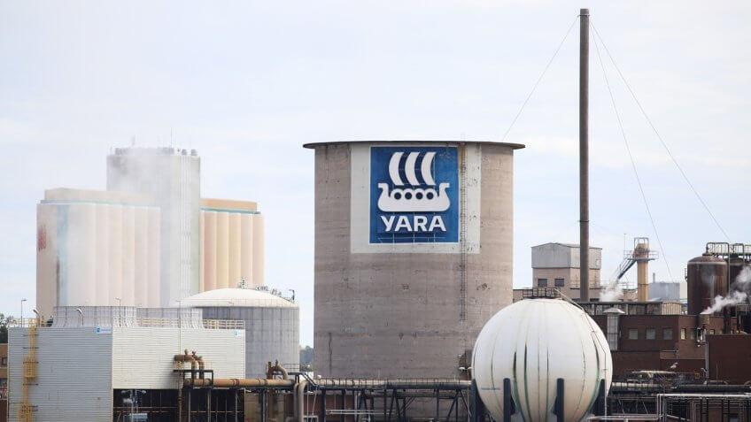 KOPING, SWEDEN - SEPTEMBER 16, 2017: Yara international industry in Koping, Sweden.