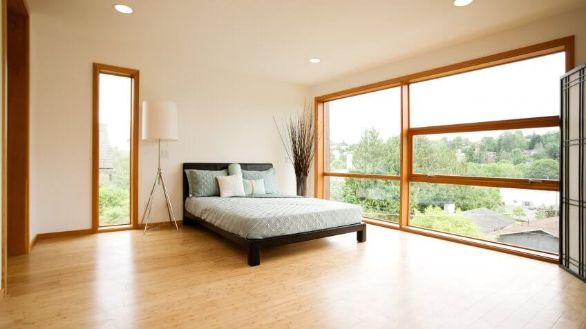 bamboo parquet flooring in a bedroom