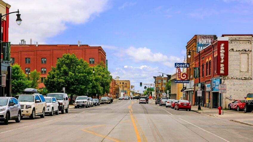 Fargo, ND, USA - July 24, 2015: View of the Northen Pacific Ave in downtown Fargo N.