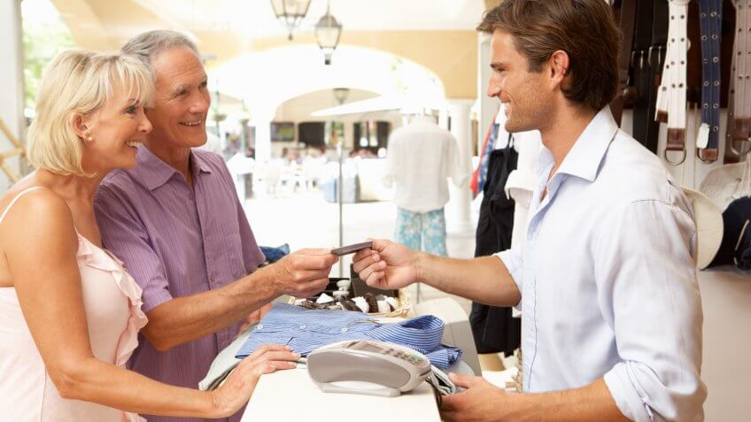 Horizontal, Senior Adult, Seniors, people, senior-couple-spending-money-retail